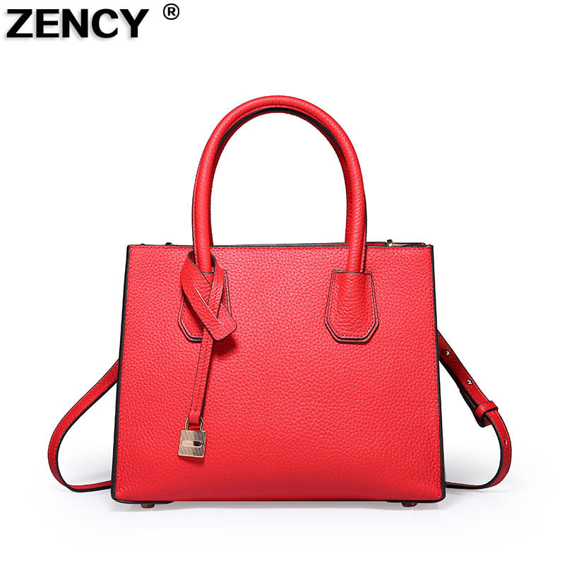 ZENCY Women Leather Tote Bags Female Bags Luxury Famous Brands Handbag Genuine Leather Tote Shoulder Messenger Bag zency new women genuine leather shoulder bag female long strap crossbody messenger tote bags handbags ladies satchel for girls