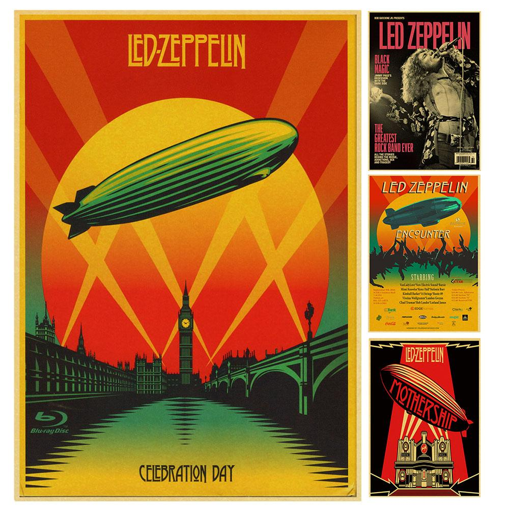 British Rock Band Led Zeppelin Retro Poster Vintage Poster Wall Decor For Home Bar Cafe Core Decorative Painting