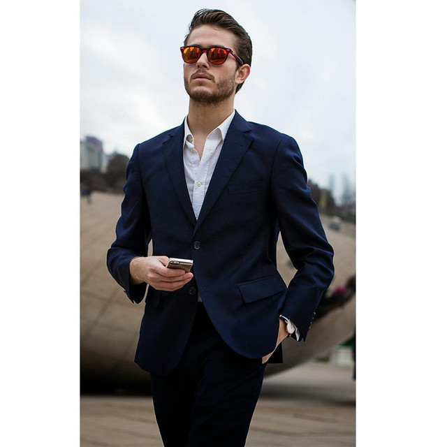 navy blue wedding suits for men tuxedos for men groom suits 2 ...