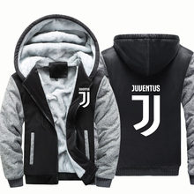 Men Anime Juventus Cosplay Hoodies Warm Winter Jacket Printed Letter Sweatshirt Fleece Zipper Hooded Thicken Hoodie(China)