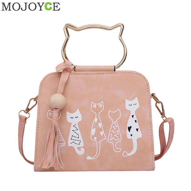 купить Women Handbags Cute Cartoon Cats Printed Shoulder Bags 2018 Fashion Women PU Leather Messenger Bag Small Crossbody Bags for Girl недорого