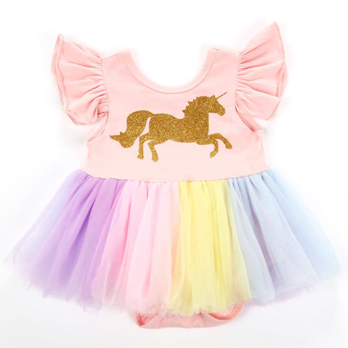 06556140d763 Summer Cute Newborn Baby Girl Unicorn Flutter Sleeve Lace Romper Tutu Dress  Kid Clothes Fancy Costume