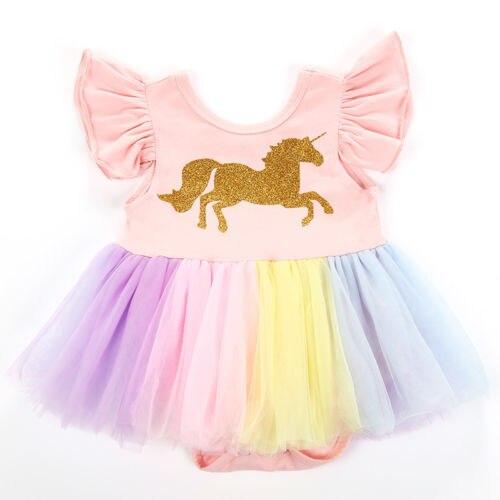 Summer Cute Newborn Baby Girl Unicorn Flutter Sleeve Lace Romper Tutu Dress Kid Clothes Fancy Costume