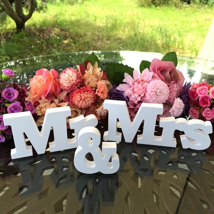 1 компл. Mr & Mrs деревянные буквы ремесел для Свадебные украшения принадлежности подписать столешницы подарок декор событие для вечеринок Дом...