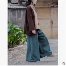 2016 autumn  product launches, original design loose big yards of women's  cotton  linen wide leg pants