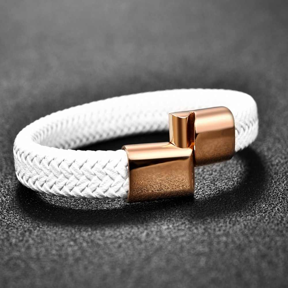 Jiayiqi 2019 Chic Braided Men Bracelet White Leather Bracelet Titanium Steel Clasp Male Jewelry Silver/Gold/Rose Gold Buckle
