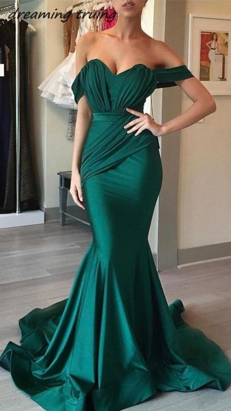 2018 Vestifos largos de fiesta Emerald Green Mermaid   Evening     Dresses   Off Shoulder Backless Ruched Long Prom   Dress   Women Gowns