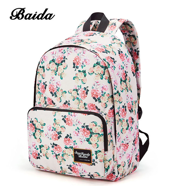 3c981ff6ff BAIDA Brand Fashion Floral Print Backpack School Book Bags Yellow and Pink Rose  Flower Backpacks for Teen Girls High School