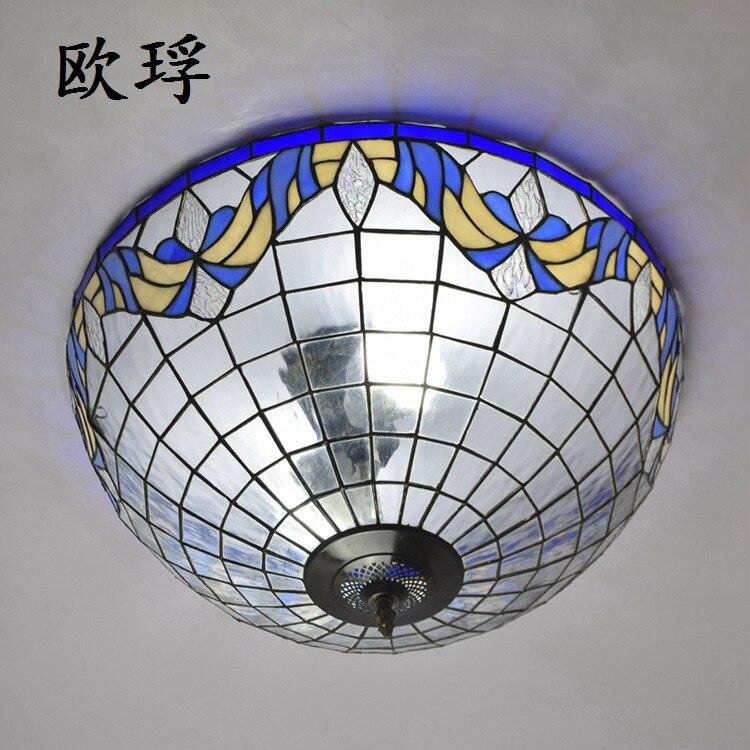 Işıklar ve Aydınlatma'ten Tavan Işıkları'de Mavi akdeniz barok 22 inç E27 110 240V Pastoral tavan ışık Tiffany yuvarlak cam lamba gölge lamparas de techo abajur title=