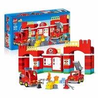 109PCS Diy city Building Blocks City Fire Station figure Truck Bricks Playmobil Toys for Children Compatible LegoINGlys Duplos
