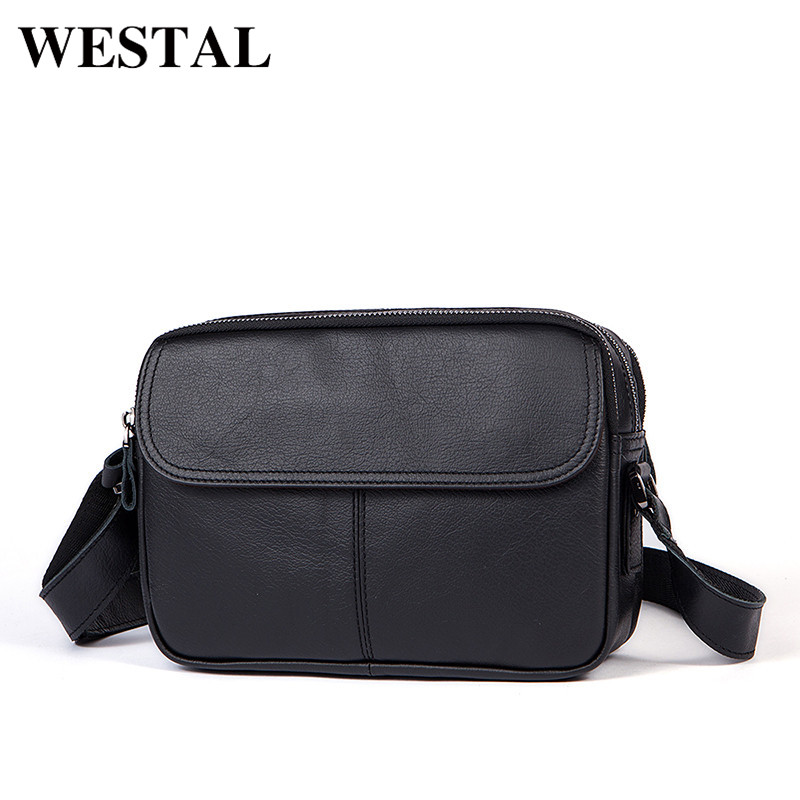 Westal crossbody men bag messenger crossbody black men bag crossbody shoulder bag soft zipper small genuine leather bags westal crossbody bags shoulder bag men genuine leather messenger bag zipper cell phone pocket black business small bags 1023