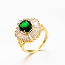 14K Gold Emerald Green Diamond Ring Creative Anillos De Jewelry jade Bague or Jaune Bizuteria for Women Diamante Ring 6 7 8 9 10 все цены