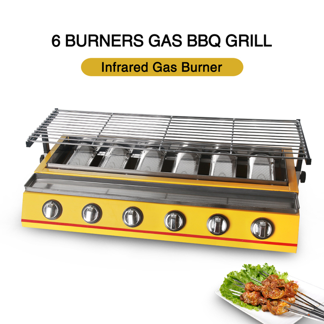 BBQ Grill, Gas Barbecue Portable Flat Environmental for Indoor Outdoor Nonstick Roasting Tray LPG Gas 6 Burners churrasqueira