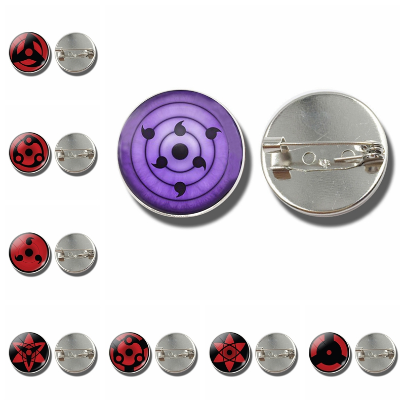 Naruto Anime Brooch Pin Sharingan Eye Jewelry Uchiha Sasuke Uzumaki Clan Rinnegan Eyes Badge Cosplay Brooches Gift for Anime Fan Скульптура