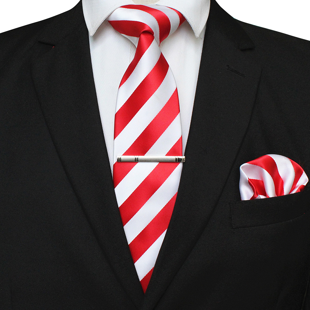 Fashion Classic Mens Tie Red Stripe Silk 8cm Jacquard Necktie Pocket Square Handkerchief Brooch Box Set Wedding Party Gift