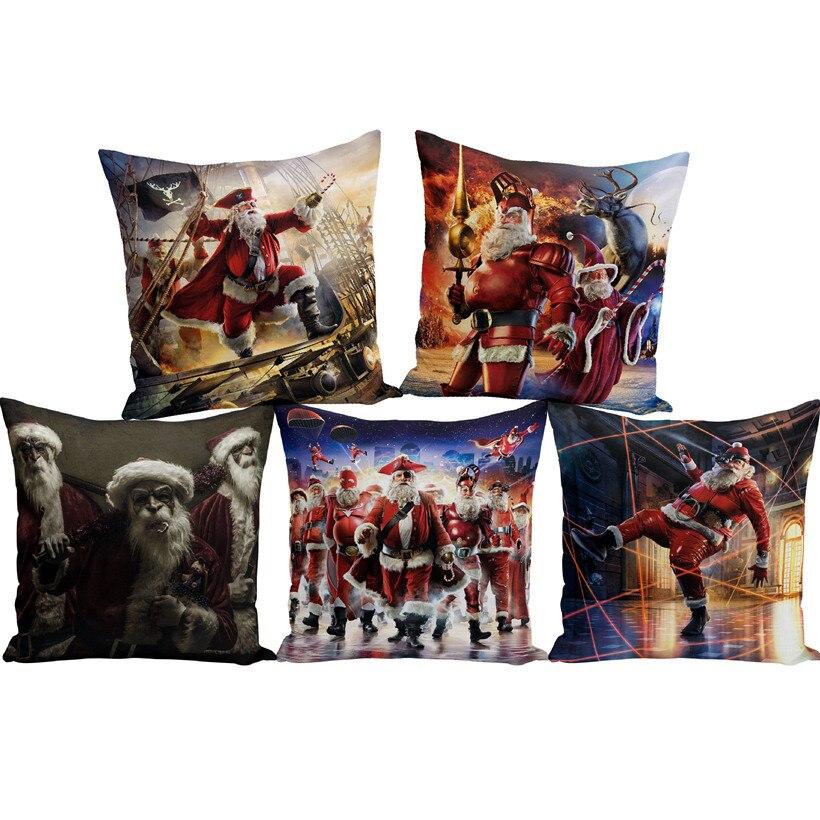 Caribbean Santa Claus Cushions Cover Merry Christmas Pillow Cover Waist Pillow Case Throw Pillowcase for Sofa Home Decoration