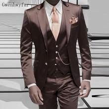 Gwenhwyfar коричневый атласный мужской костюм официальный итальянский дизайн смокинг на заказ стильный Блейзер мужские костюмы пиджак брюки жилет 3 шт