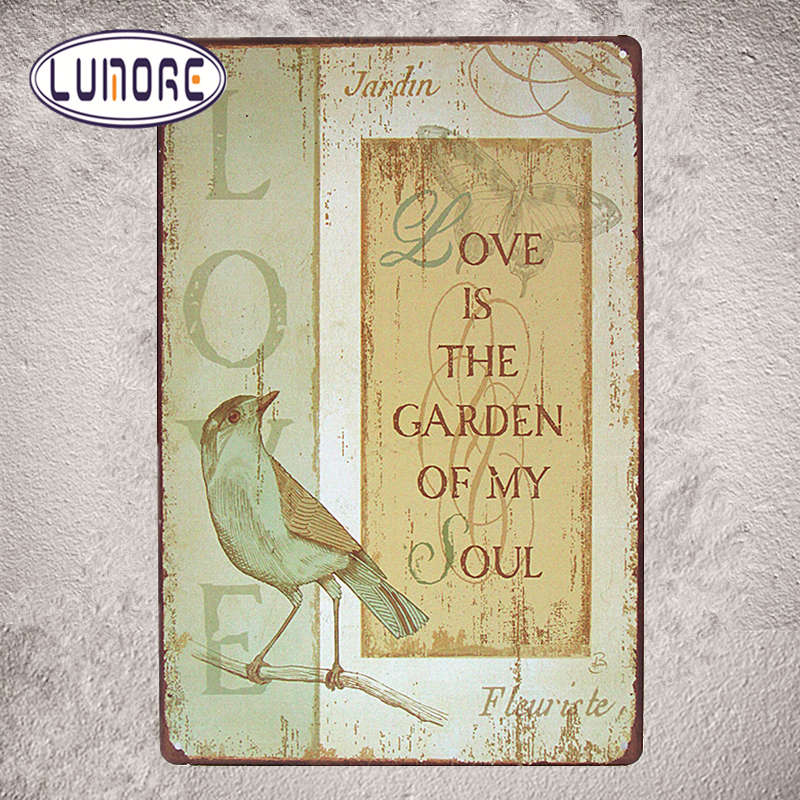 amour est le jardin vintage inscrivez tin bar pub accueil mur dcor rtro en mtal affiche