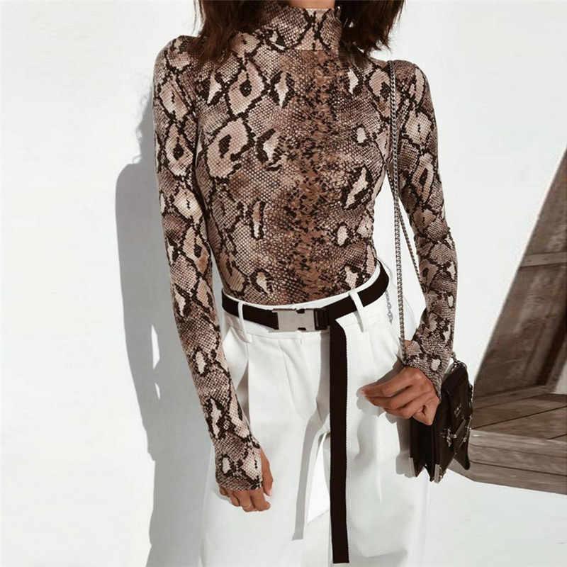 74c2c0b06e0 2018 New Serpentine printed slim bodysuit Women long sleeve turtleneck  fashion bodysuit tops Female sexy evening