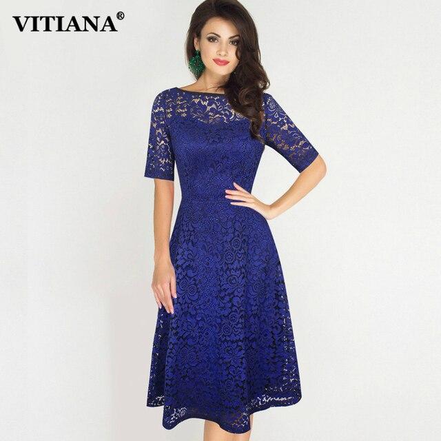 c1ba12b0c6f3 VITIANA Women Plus Size 3XL Party Lace Dress Female Red Gray Short Sleeve  Casual Office Work Dresses Elegant Vintage Vestidos