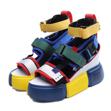 SWYIVY platform sandals for woman 2019 new blue wedge high heel chunky