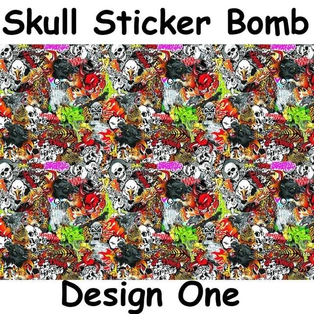 Skull Heads STICKERBOMB Vinyl WRAP Air Bubble Free Sticker bomb