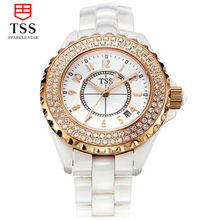 Tss luxury brand Women's Bracelet Watches Sapphire Glass dazzle beauty space ceramic table girls quartz Wristwatch female white