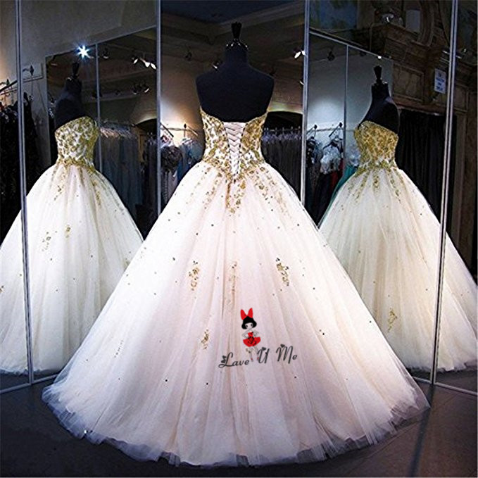 Gold Lace Applique Gothic Wedding Dress Beads China Bridal Dresses ...