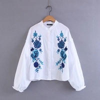 VKOZEN 2017 Blusas Fashion Za Women Long Sleeve Blouse Casual Ladies Floral Embroidery Shirt White Tops
