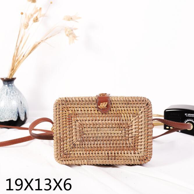 Woven Rattan Bag Round Straw Shoulder Bag Small Beach HandBags Women Summer Hollow Handmade Messenger Crossbody Bags 8