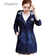 RLYAEIZ Women Denim Jacket 2017 Spring Fashion Pockets Mid-Long Woman Zipper Jeans Jackets casaco Long Sleeve Hooded Denim Coats