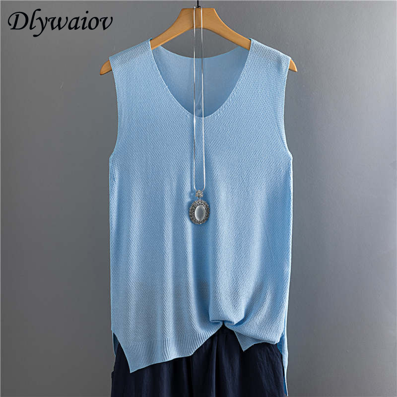 2019 Top Women Summer Sleeveless Knit Sexy Tank Rib Vest Female Elasticity Casual Loose Plus Size Camisole V Neck Split Tops