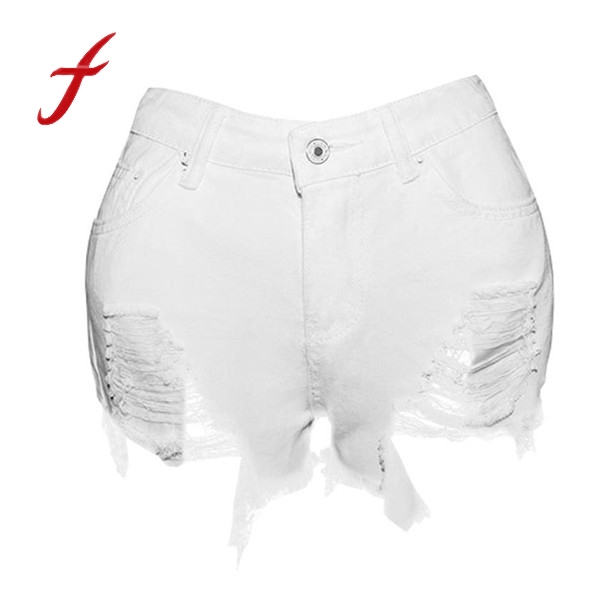 Women Sexy Ripped Jeans Denim Shorts Worn Loose Shorts 2017 Summer Hot Beach Tassel White Mini Short feminino Plus Size S-XXL
