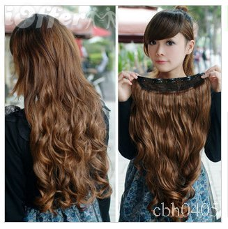 Free Shipping Light Brown 24 Curly 1 Piece Clip In Hair Extensions