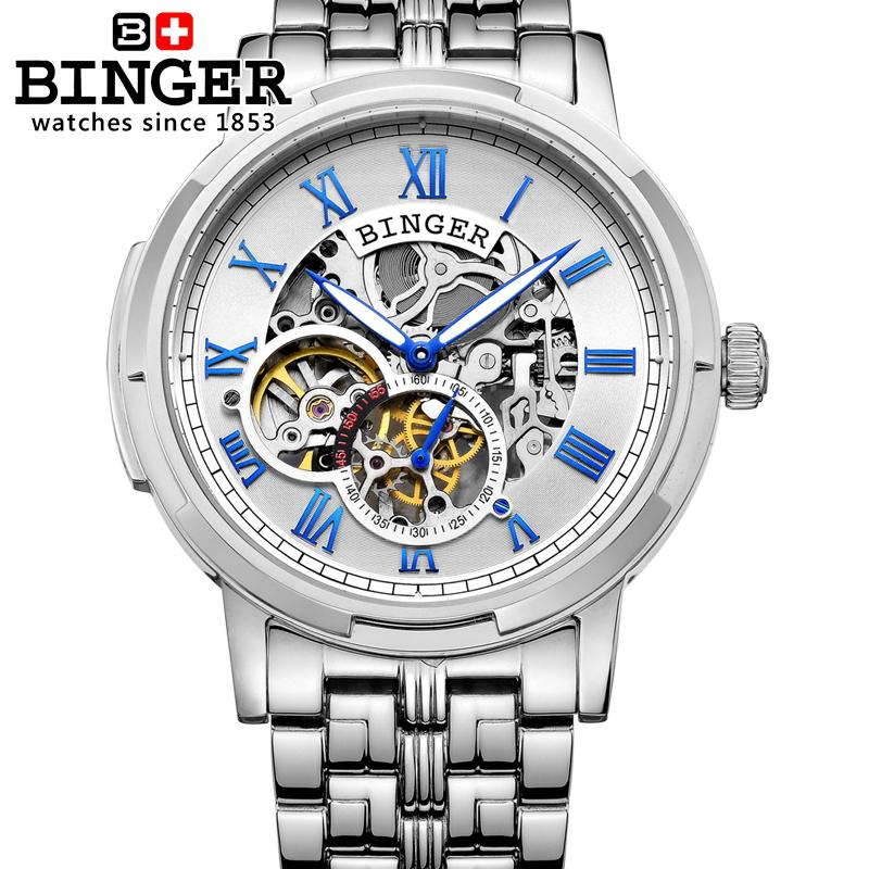 Switzerland watches men luxury brand men watches BINGER luminous Automatic self-wind full stainless steel Waterproof B5036-2 tevise fashion auto date automatic self wind watches stainless steel luxury gold black watch men mechanical t629a with tool
