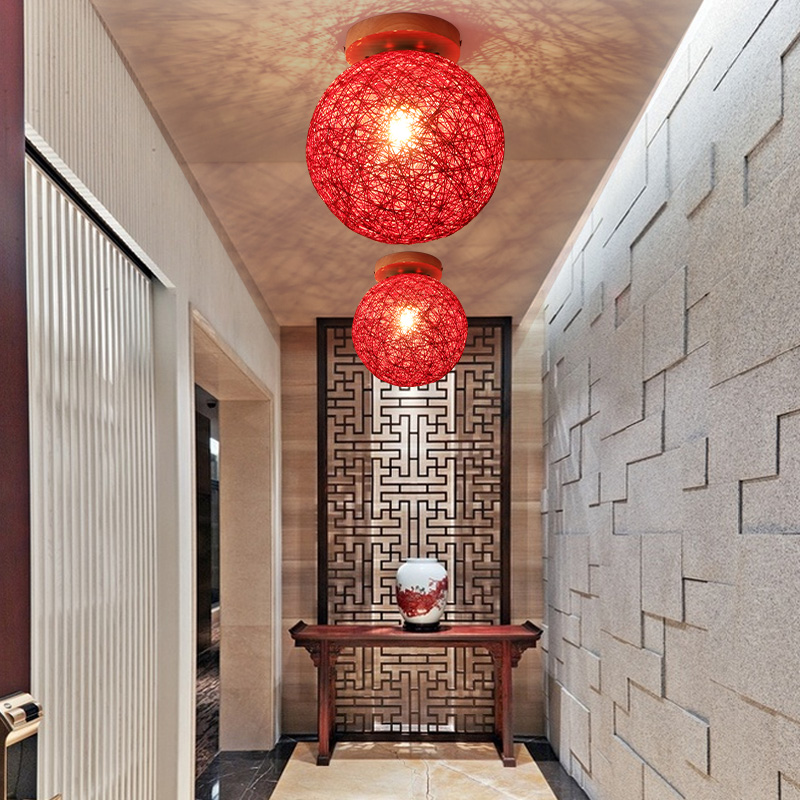 Well-Educated Balcony Ceiling Lamp Aisle Modern Minimalist Nordic Creative Personality Dual-use Twine Rattan Ball Light Corridor Lighting Ceiling Lights Lights & Lighting