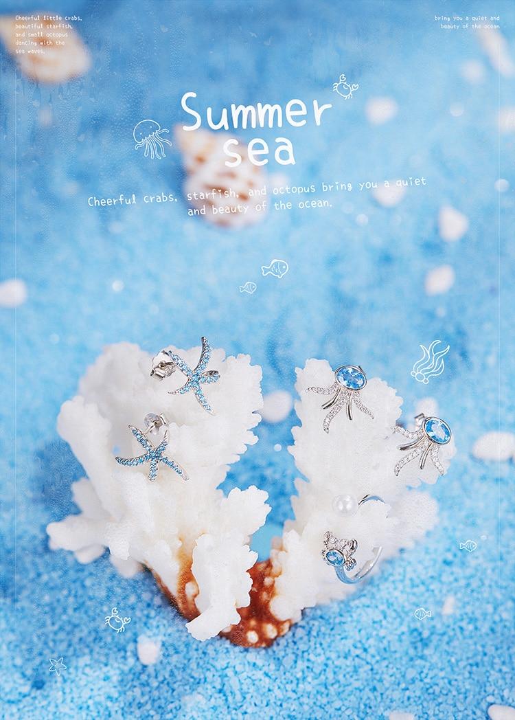 HTB1YwRNaUCF3KVjSZJnq6znHFXaO bamoer Starfish Stud Earrings for Women Genuine 925 Sterling Silver Fashion Blue Earings Studs Korean Design Jewelry BSE136