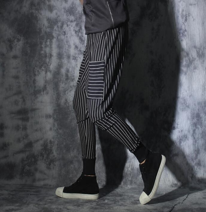Black personality Large pocket drawstring mens stripe pants harem pant men feet trousers pantalones hombre cargo pantalon homme