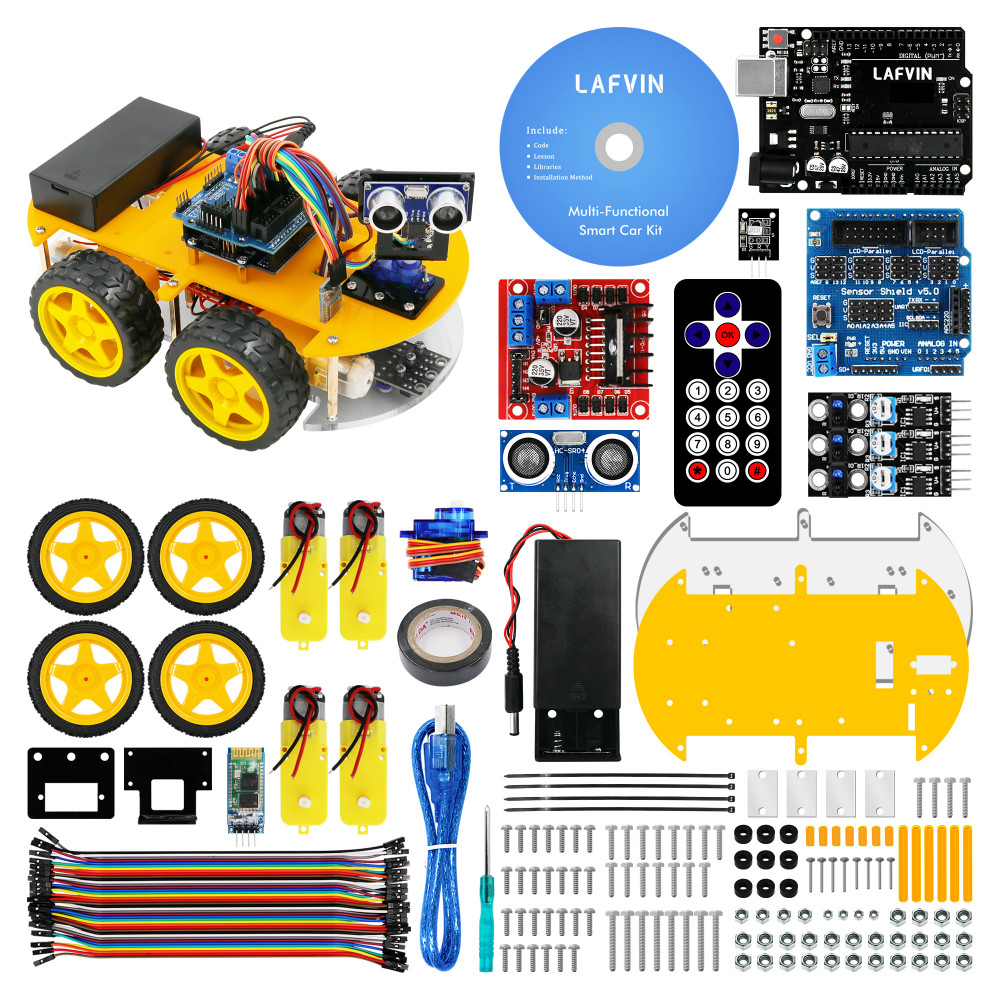 LAFVIN Smart Robot Car Kit for UNO R3,Ultrasonic Sensor, Bluetooth Module for Arduino with Tutorial-in Integrated Circuits from Electronic Components & Supplies