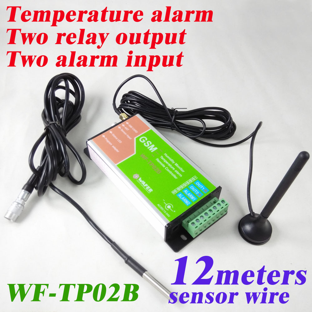 Free shipping 12 meter sensor Two relay switch output and 2 alarm input GSM Temperature monitor and SMS alarm and Data logger gprs gps sms data logger wireless gsm remote controller 4 analog input 1 digital relay output temperature alarm system s262