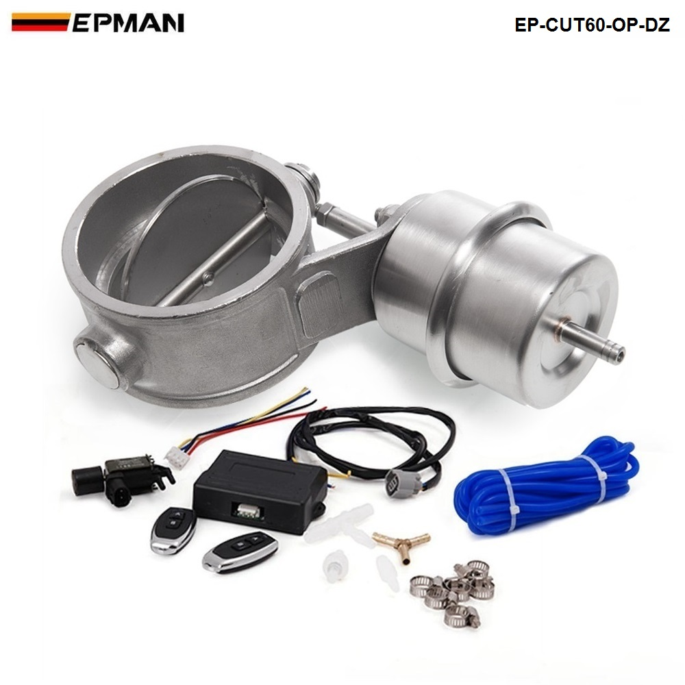 Exhaust Control Valve CUTOUT 2 3 60mm Pipe Open Style With Vacuum Actuator with Wireless Remote