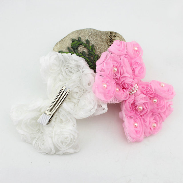 1 piece white pink lace flower bow hair clip felt flower hair grips 1 piece white pink lace flower bow hair clip felt flower hair grips children hair accessories mightylinksfo