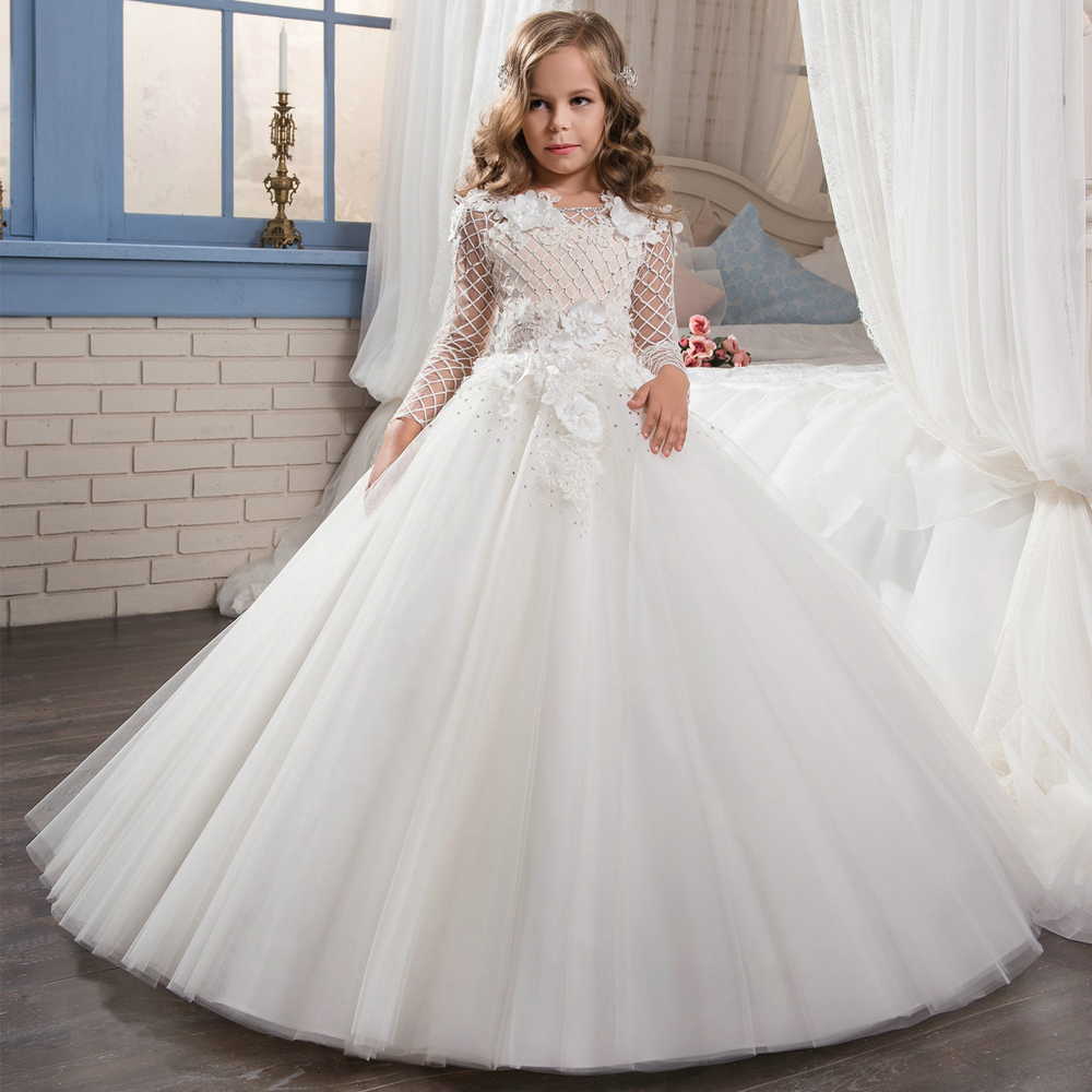 First Communion Dresses for Girls Long Sleeves Solid O Neck Lace Ball Gown Flower Girl Dresses