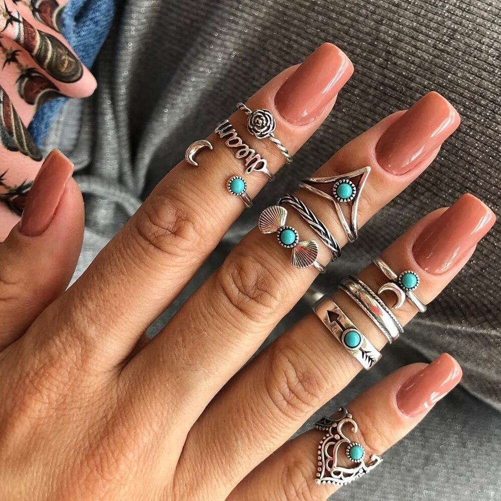 1 Set Boho Femme Vintage Steen Knuckle Ring Geometrische Patroon Bloem & Star Vinger Ringen Set Sieraden Party Groothandel Brincos Aantrekkelijk Uiterlijk