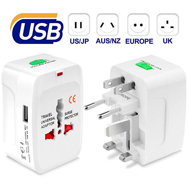 805b71c992ea7d Universal Travel Plug Adapter, All in One Worldwide Wall Charger AC Power  Plug with 1 USB Charging Port (1A) for EU US AU UK