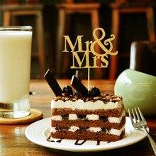 20 шт. блестящая золотая Mr& Mrs Свадебная чашка торт Топпер сувениры вечерние украшения DIY обертка свадебный душ центральный