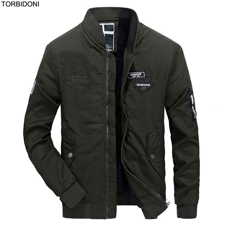 f7174de3283f6 Mens Flight Jackets Male Overcoat Casual Solid Bomber Jacket Badges Jaqueta  Masculina Inverno Fashion Men s Cotton padded Coat-in Jackets from Men s ...
