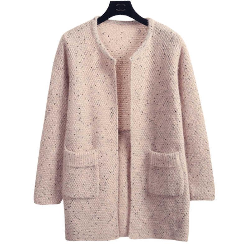 צמר נשים סוודר לסרוג קרדיגן מעיל חדש חורף סתיו מתקן צבע קוריאני נקבה Loose Jumper ביגוד Vestidos LXJ319