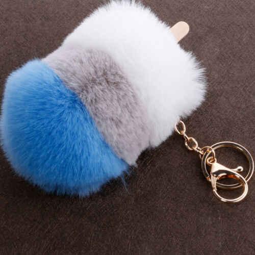 Pele De coelho Bola Pompom Fofo Bolsa Pingente Carro Charme Chaveiros Chaveiro Simulação sorvete pingente de bola de cabelo 8 CM