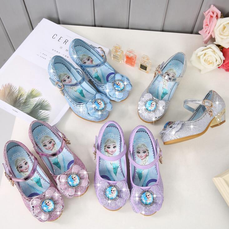Image 5 - New Children Leather Sandals Child High Heels Girls Princess Summer Elsa Shoes Chaussure Enfants Sandals Party Anna Shoes-in Sneakers from Mother & Kids